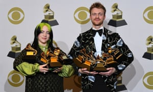 Billie Eilish and her brother and producer, Finneas, with their Grammys haul, 26 January 2020.