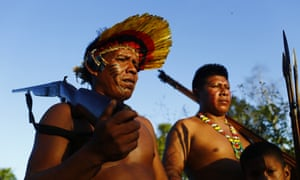 Ka'apor forest guardians patrolling the borders of their territory, in Maranhao state, Brazilian Amazon.
