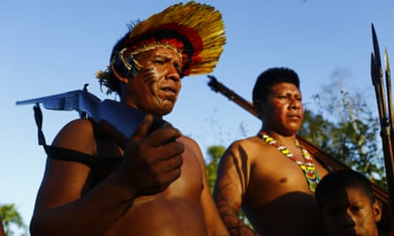 Ka'apor forest guardians patrol the borders of their territory, in Maranhão state, Brazil.