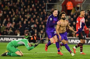 Mohamed Salah celebrates scoring Liverpool's second goal as the come back to beat Southampton 3-1 at St Mary's.
