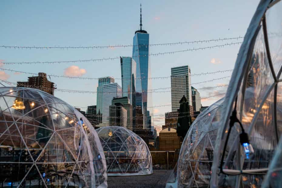 Social distancing bubble dining tents on the roof deck of a restaurant in New York City on 10 November 2020.