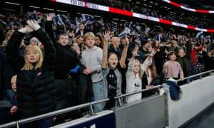 Fans at the Tottenham Hotspur v Arsenal Women's Super League game at the Totttenham Hotspur Stadium on 17 November.