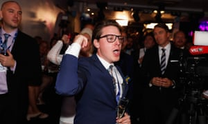 Young supporters of the far-right Sweden Democrats react to the exit poll at the party's election centre in Stockholm