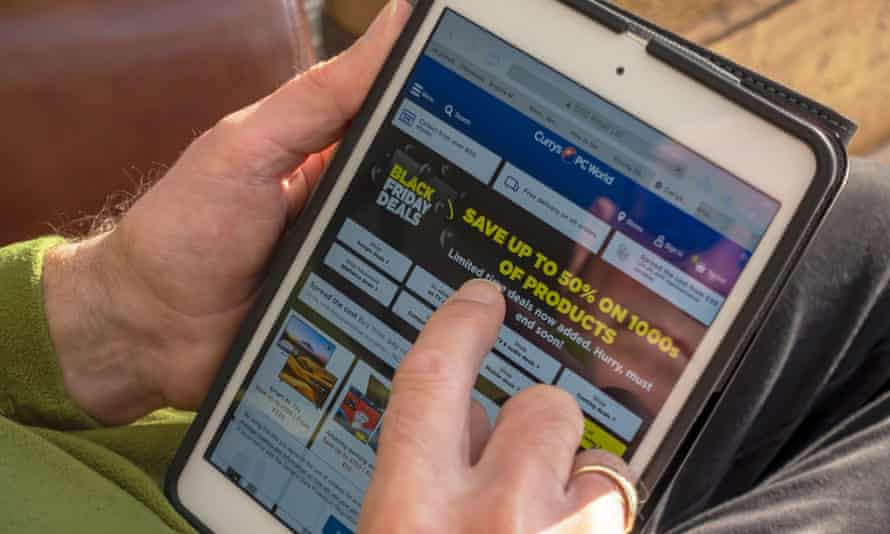 Currys PC World Black Friday offers being viewed on a tablet