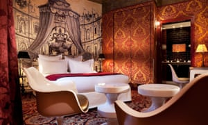 One of the glorious rooms at the Hotel Petit Moulin
