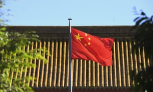 China's flag outside its embassy in Canberra