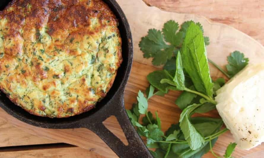Halloumi and herb frittata