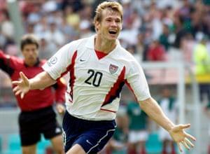 Brian McBride celebrates his goal against Mexico in Jeonju.