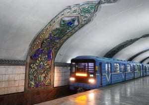 A mural on the wall of the Tashkent metro