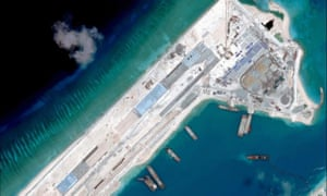 Satellite image of what is claimed to be an under-construction airstrip at Fiery Cross Reef in the Spratly islands in the disputed South China Sea.