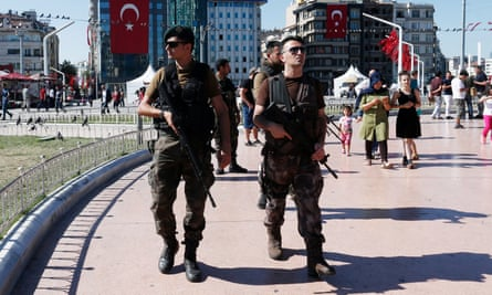 Armed forces in Taksim Square, Istanbul, after the coup attempt
