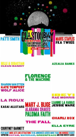 Glastonbury Festival poster showing female acts