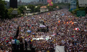 Mass demonstration in central Caracas