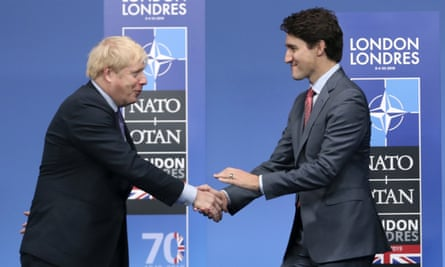 Boris Johnson welcoming Canadian prime minister Justin Trudeau to a NATO leaders meeting in December 2019.