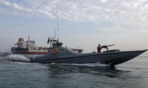 Iranian Revolutionary Guards patrolling around a British-flagged tanker