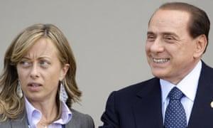 Giorgia Meloni with Silvio Berlusconi.