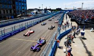 Saturday's winner Sam Bird of DS Virgin Racing and Felix Rosenqvist of Mahindra Racing, left, pull away from the grid