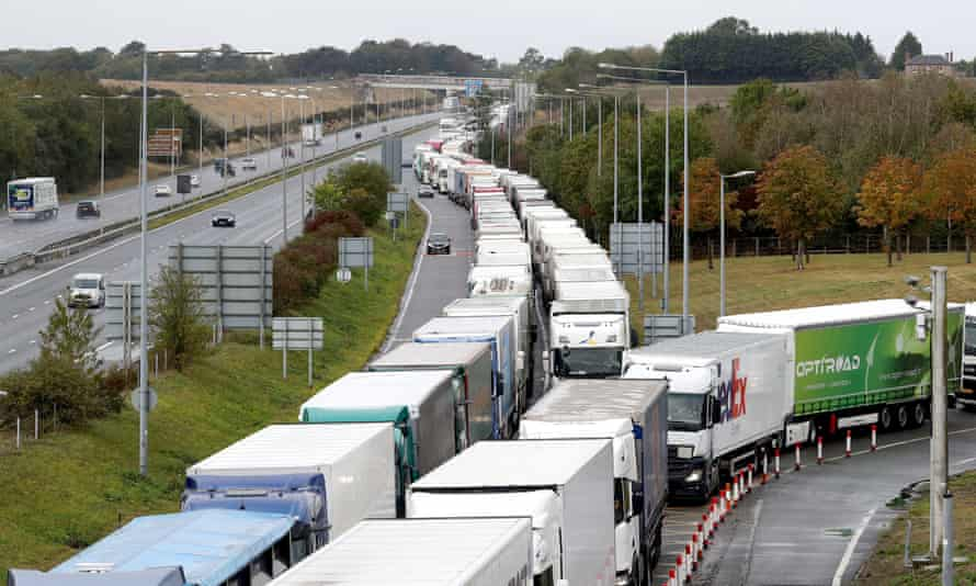 Lorries queuing on the M20 motorway for the Eurotunnel in Folkestone, Kent, on 25 September.