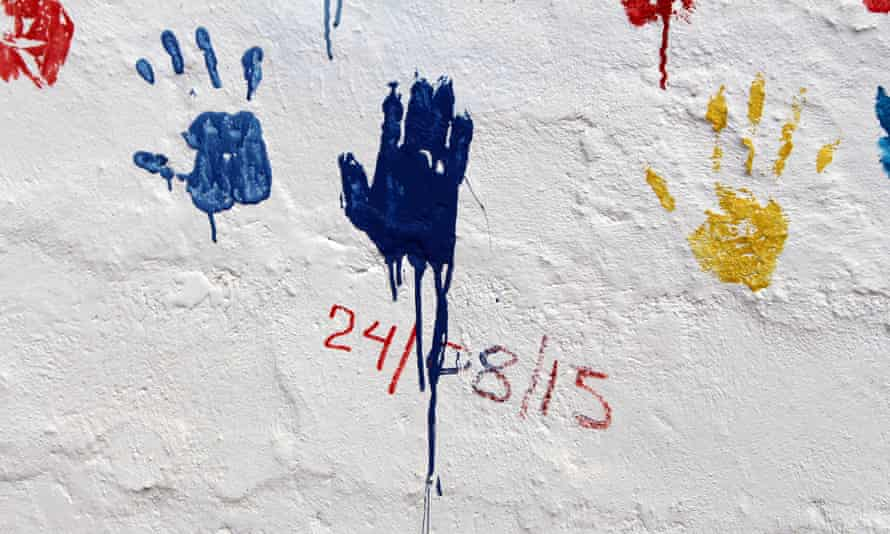 Handprint of the last Ebola survivor released from a treatment centre in Makeni, Sierra Leone.