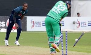 England's Jofra Archer clean bowls Ireland's Mark Adair.