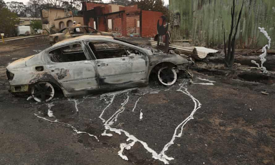 The melted alloy wheels of a car destroyed by fire on the New South Wales south coast