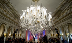 Trump's choice of venue, his luxury Mar-a-Lago estate in Palm Beach, Florida, drew comparisons to Louis XIV and Citizen Kane.