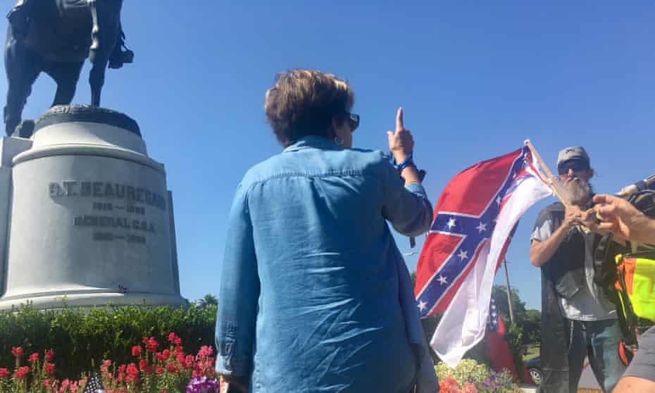 Lolita Villavasso Cherrie at the PGT Beauregard monument, telling James Del Brock to go back to Arkansas.