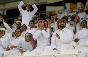 Some of the 400 fans at the Al Sadd game on 8 November.