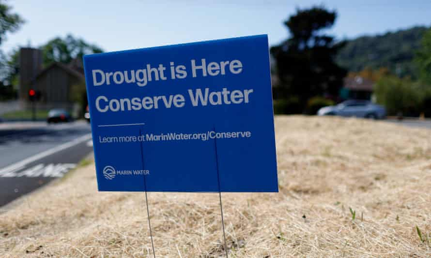 A neighborhood sign in San Anselmo, California. State residents are being urged to conserve water.