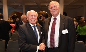 Former Prime Minister John Howard (L) shakes Kim Beazley's hand at the launch of the Ramsay Centre for Western Civilisation in Sydney, Monday, November 20, 2017