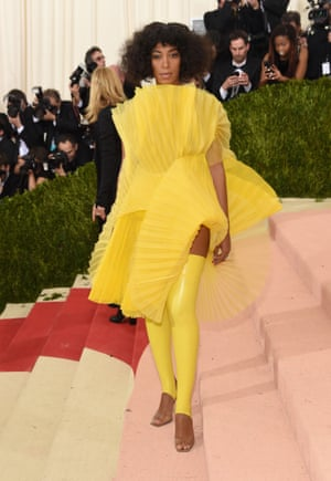 Solange Knowles Post lift-gate, where she famously let fly at Jay Z, Solange's role in the fashion-celebrity soap opera that is the Met Gala will always as Beyoncé's kick-ass wingman. Turning up in bright lemonade yellow, to match not only the title of Lemonade but Beyoncé's dress in the best-known scenes, is a clear Wingman move. Also, she echoed Bey's latex theme in the leggings.