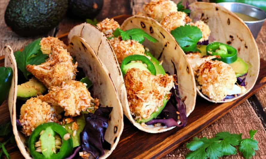 Vegan coconut cauliflower tacos.