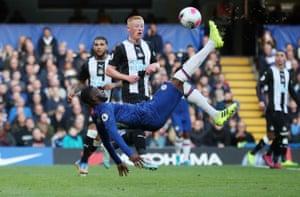 Chelsea's Fikayo Tomori attempts an overhead kick.