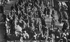 German military prisoners at Southend on Sea, on their way to Knockaloe internment camp near Peel on the Isle of Man, c1914-1915.