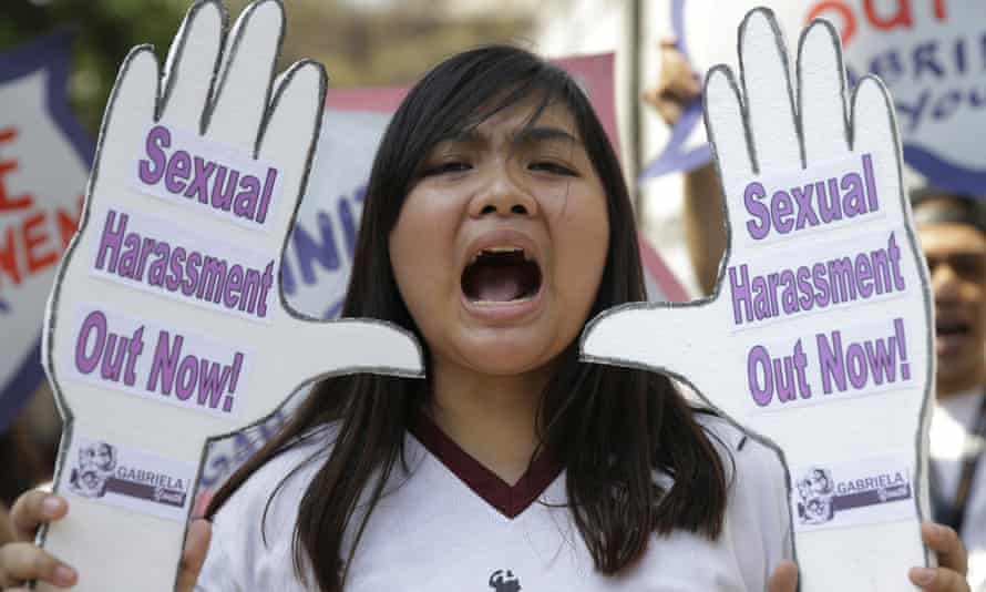 A Filipino student protests against sexual harassment during a rally in Manila