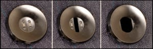 Close up of Snappy Suit camera - with a camera concealed in a button.