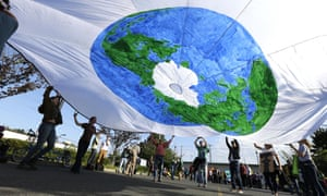 Environmental protesters ally at Terminal 5 at the port of Seattle on Monday.