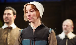Emma Lowndes as Shakespeare's daughter, Susanna Hall, defending herself against a charge of adultery in a church court, in The Herbal Bed.