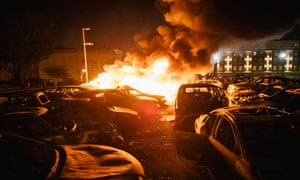 Cars are set on fire in a used car lot on in Kenosha