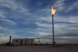 A gas flare burns at a Matador Resources Co. site in the Permian Basin area of Loving County, Texas.