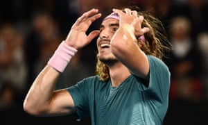 Stefanos Tsitsipas can barely believe it after beating Roger Federer in four sets.