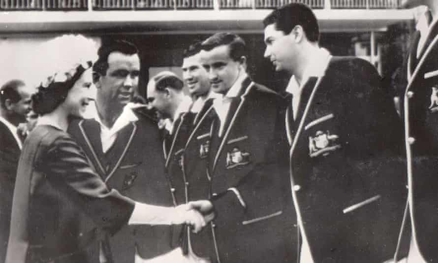 Rex Sellers pictured meeting the Queen at Lord's on Australia's 1964 Ashes tour.