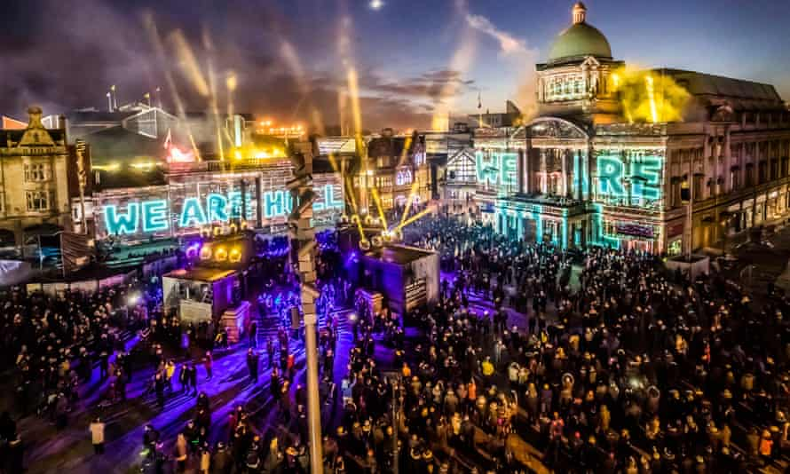 We Are Hull – an installation by artist Zsolt Balogh is projected on to buildings in the city's Queen Victoria Square.