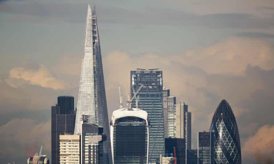 The Shard dominating the London skyline.