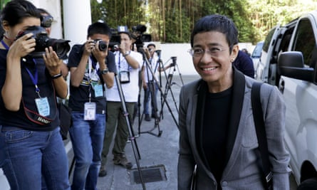 Rappler executive editor Maria Ressa arrives at the Court of Tax Appeals in metropolitan Manila, in April last year as part of the long-running legal battle.