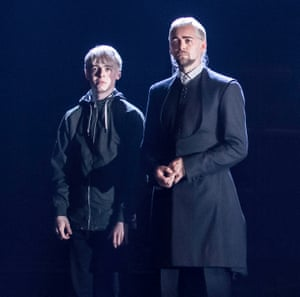 'An actor with a marvellous future': Anthony Boyle, left, as Scorpius, son of Draco Malfoy, played by Alex Price.