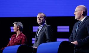 Margrethe Vestager, Frans Timmermans and Manfred Weber