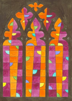 A watercolour sketch for John McLean's stained glass commission at Norwich Cathedral.