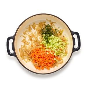 Set the meat aside, then fry the onion, celery and carrot with a sprinkle of rosemary and thyme.