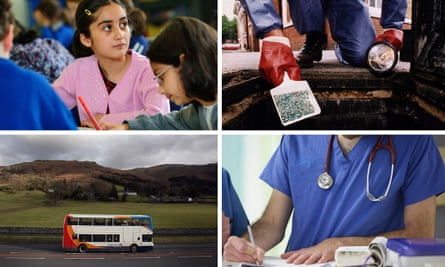 a girl at school, an environmental health officer  putting down rat poisoon, a hospital doctor and a rural bus